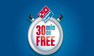 dominos pizza promo 30 minutes delivery or free