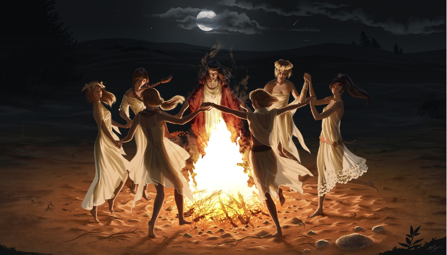 witches ritual dancing